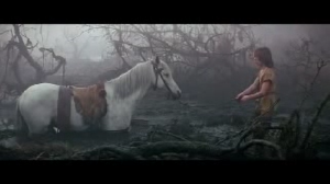 Horse (Artax) dies in the never ending story scene.